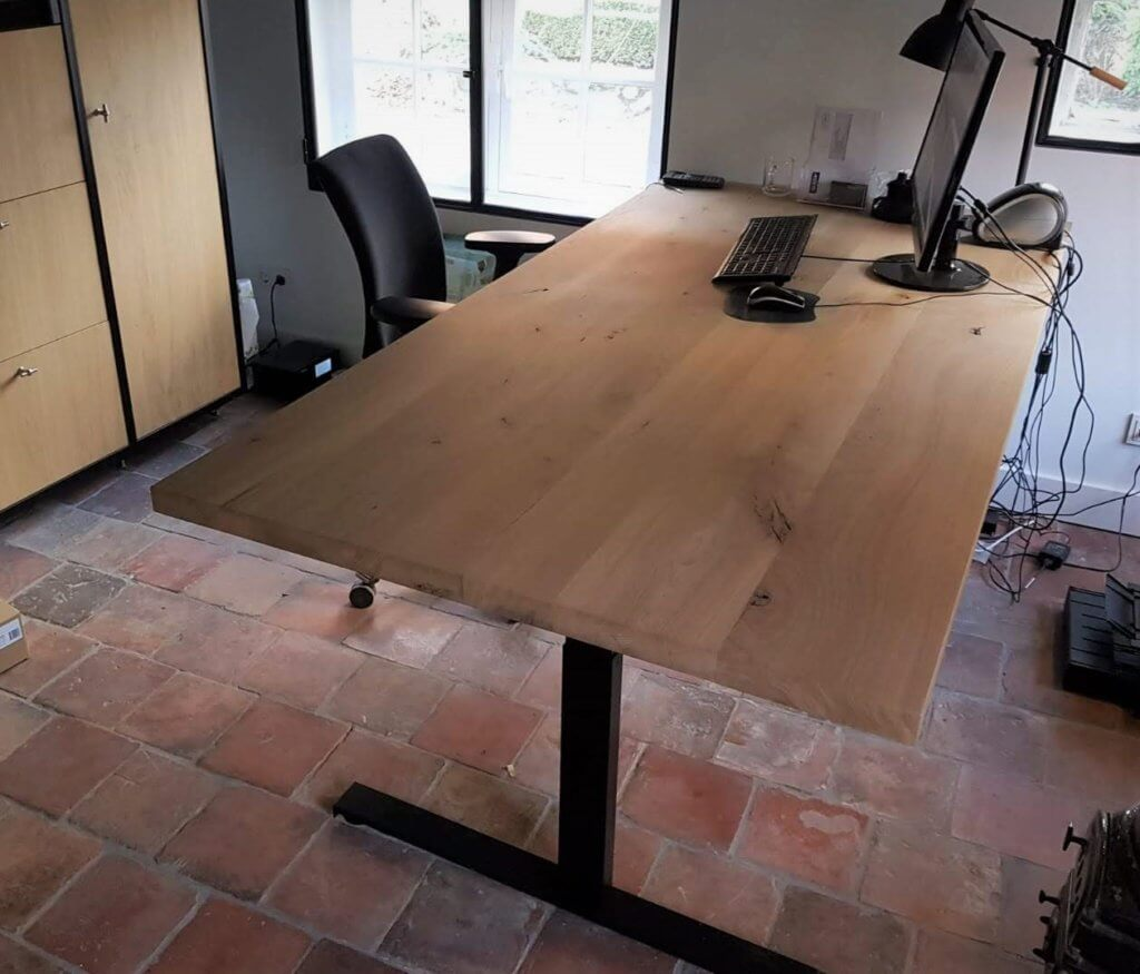 Eiken elektrisch bureau tafel
