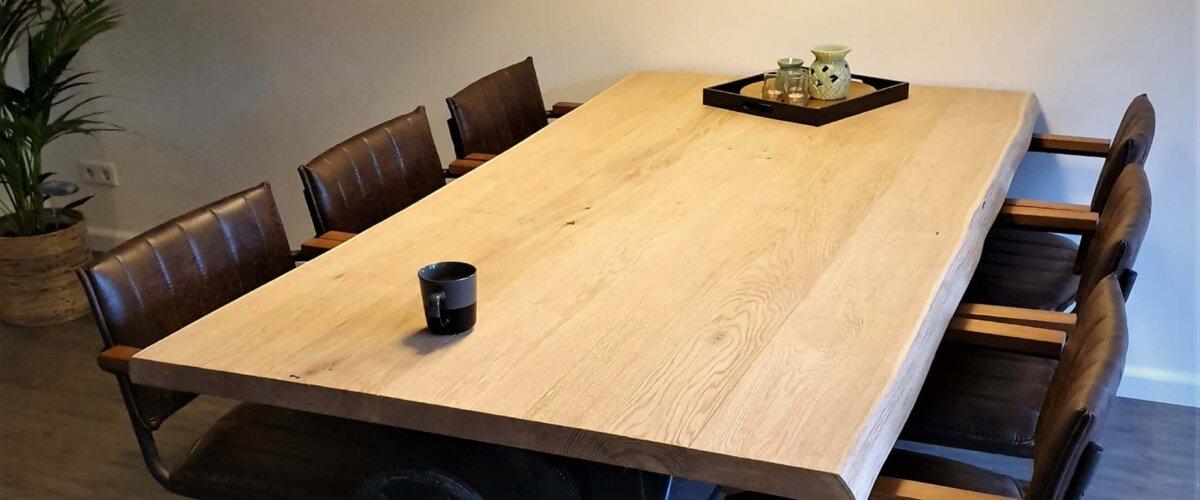 Gietijzeren onderstel zit sta vintage tafel