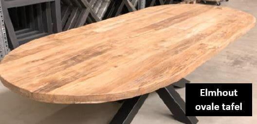 Elmhout ovale tafel elmwood